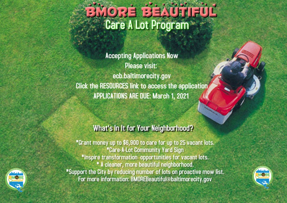 #District10 Neighbors: 💲#GrantAlert 🚨— Are there vacant lots in your neighborhood you'd like to care for, if only you had the funds and support? This is your program. BMORE Beautiful Care-A-Lot Program applications are due 🔜 : MON. MARCH 1. https://t.co/F0Kh8eb08u