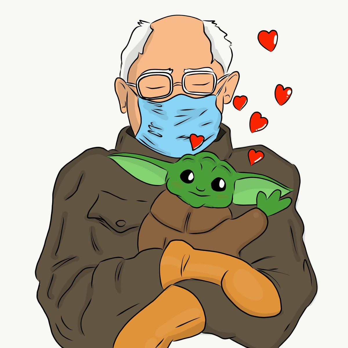 Bernie & Grogu are a beautiful couple #starwars #grogu #sandersmeme #Berniememes #art #BernieSanders #grogumemes