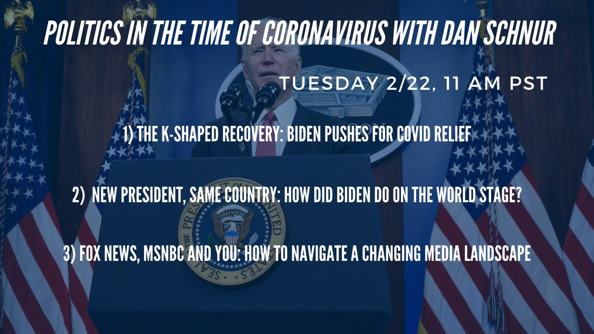 What #COVID relief will #Biden actually pass? How has he been doing so far on the world stage? Prof. Dan Schnur will be answering these Q's and more tomorrow, for his weekly webinar Politics in the Time of Coronavirus #PITOC. Register here!
