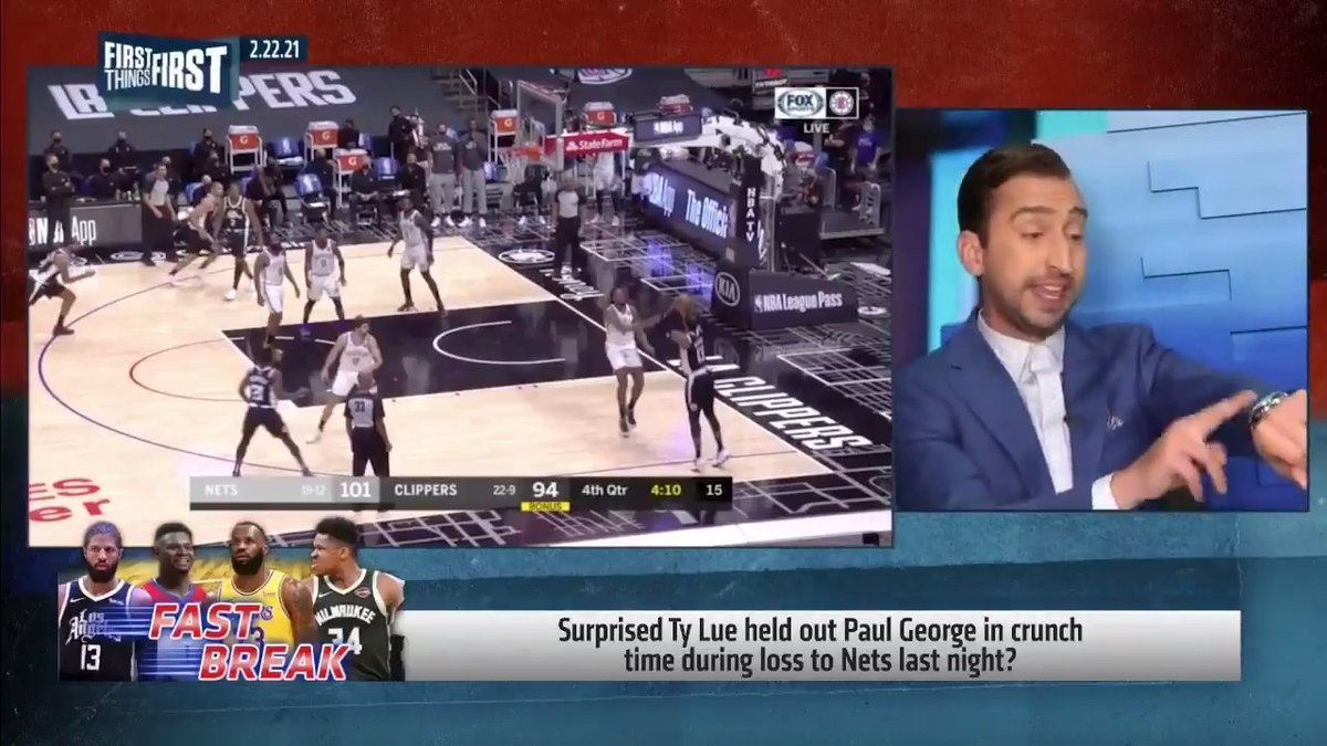"""This is not on Ty Lue. ... This is pseudo science. It has not improved in 35 years.""  — @getnickwright on Paul George being held out in crunch time due to minutes restrictions vs. Nets:"