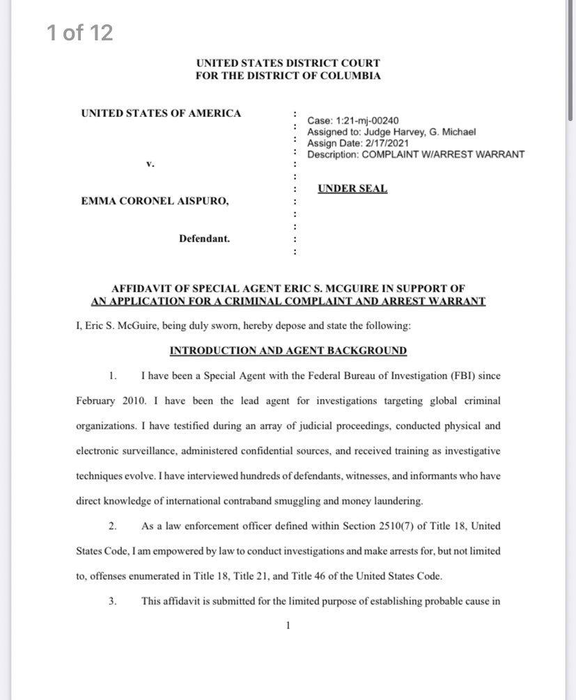 RT @adamlongoTV: (1/3) Here is the criminal complaint against the wife of El Chapo, Emma Coronel Aispuro. https://t.co/HjSh7XxSRz