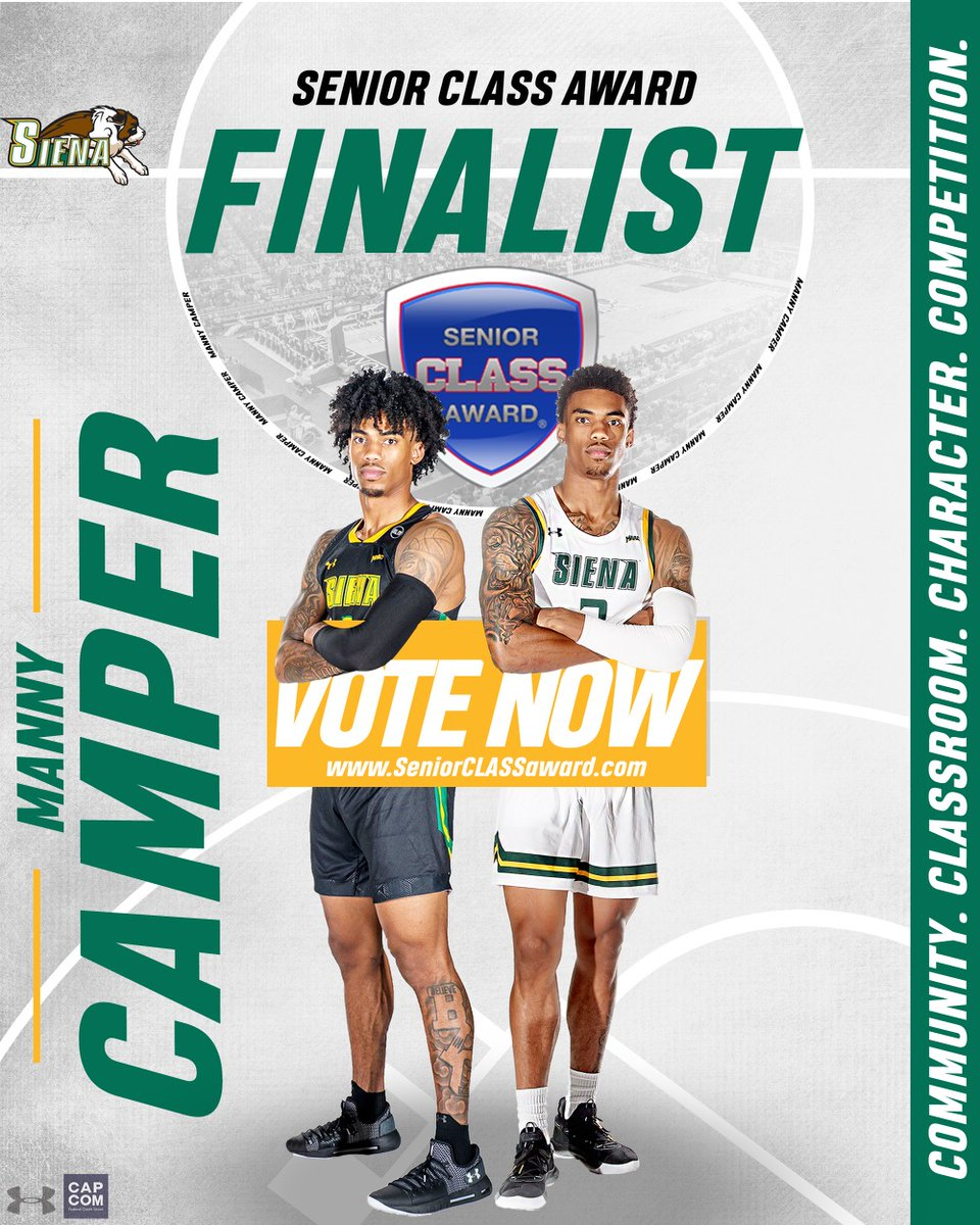 🚨 𝘽𝙍𝙀𝘼𝙆𝙄𝙉𝙂 🚨 @SienaMBB senior captain @_BigshotManny_ has been chosen as ☝️ of just 🔟 @marchmadness 𝙵𝙸𝙽𝙰𝙻𝙸𝚂𝚃𝚂 for the prestigious @SnrCLASSAward❗️ 🗳️✅ 𝐕𝐎𝐓𝐄 for Manny to win the award ➡️ bit.ly/2ZFjOhp 📰 bit.ly/37Dysdg #MarchOn