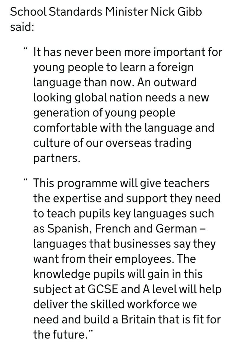 @Otto_English Perhaps Daniel Kawczynski shouldve known his own Government pledged £4.8 million in 2018 for a Centre of Excellence to raise the standard of teaching in useful languages like French Spanish & German to upskill UK workforce? gov.uk/government/new… Mightve avoided a spicy ratio