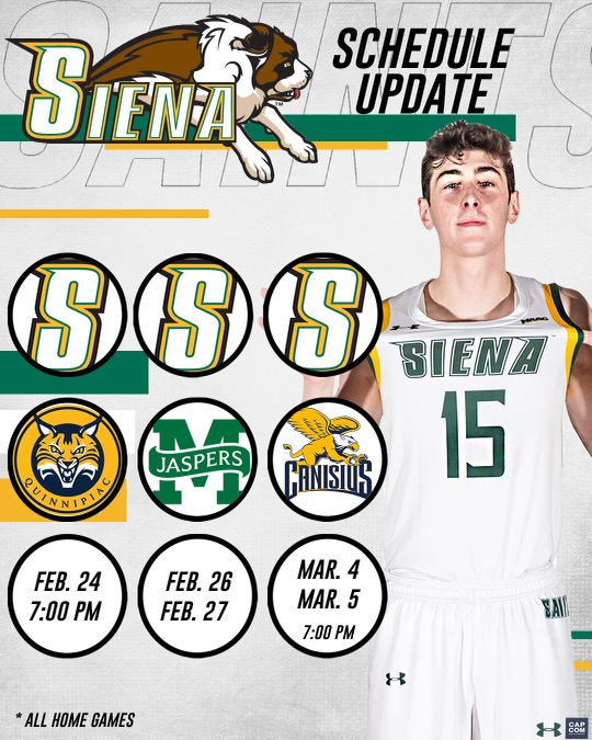 🗓️ 𝙎𝘾𝙃𝙀𝘿𝙐𝙇𝙀 𝙐𝙋𝘿𝘼𝙏𝙀 Due to COVID-19 related disruptions within @MAACHoops, the latest league schedule has us now concluding regular season action with 5⃣ straight home games Your #SienaSaints return to action Wednesday night 🆚 Quinnipiac at 7⃣PM at the UHY Center