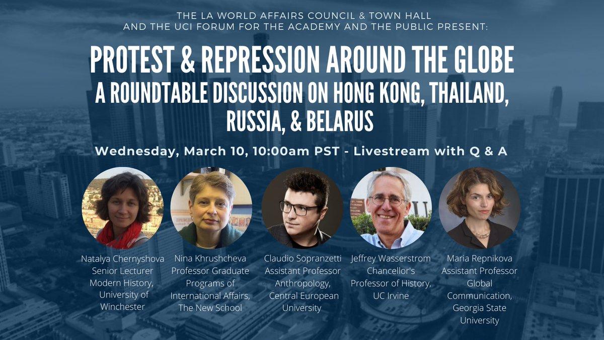 Save the date, March 10, I'll join a wonderfully international & interdisciplinary group to talk about protest & repression in Thailand (@anthroaddict) Russia (@ninakhrushcheva), Belarus (Natalya Chernyshova) & Hong Kong (me), w @MariaRepnikova moderating