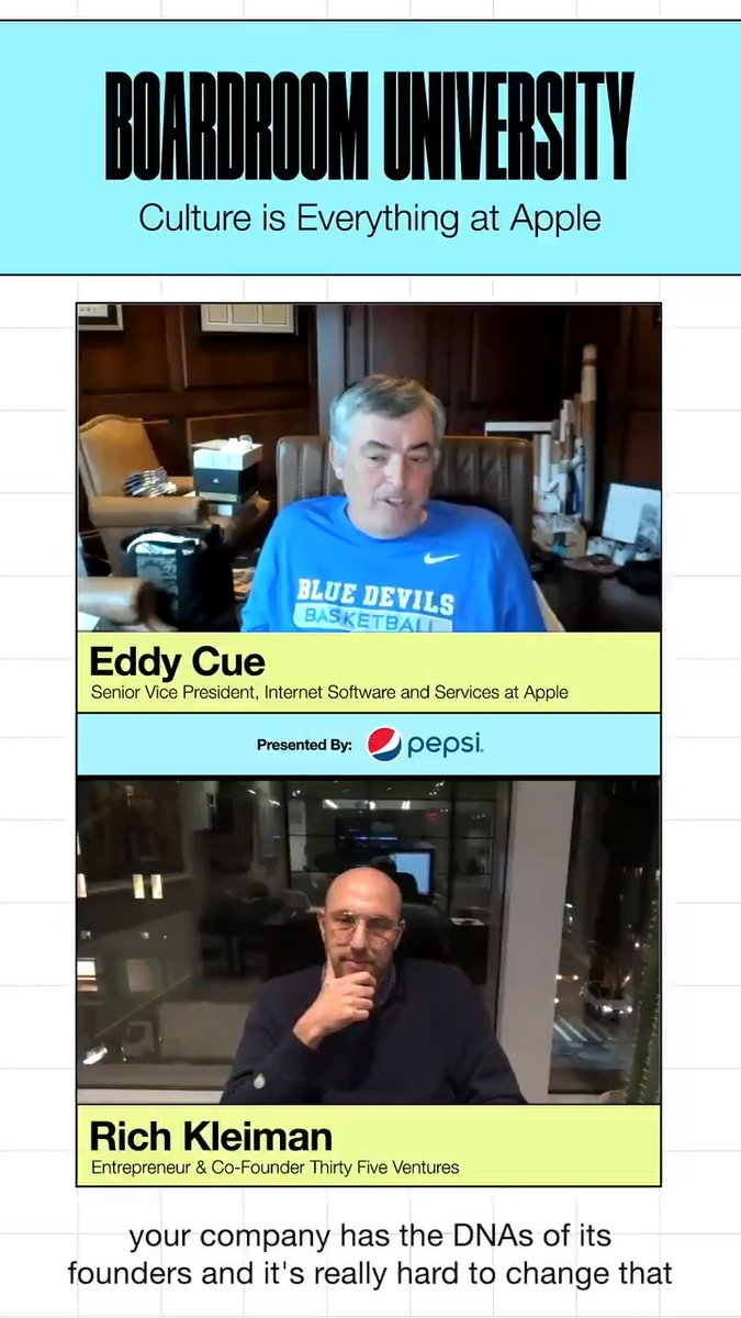 How does company culture contribute to success? Here's why @Apple's Eddy @Cue takes building the right culture so seriously.  #BoardroomUniversity at @DukeU presented by @Pepsi