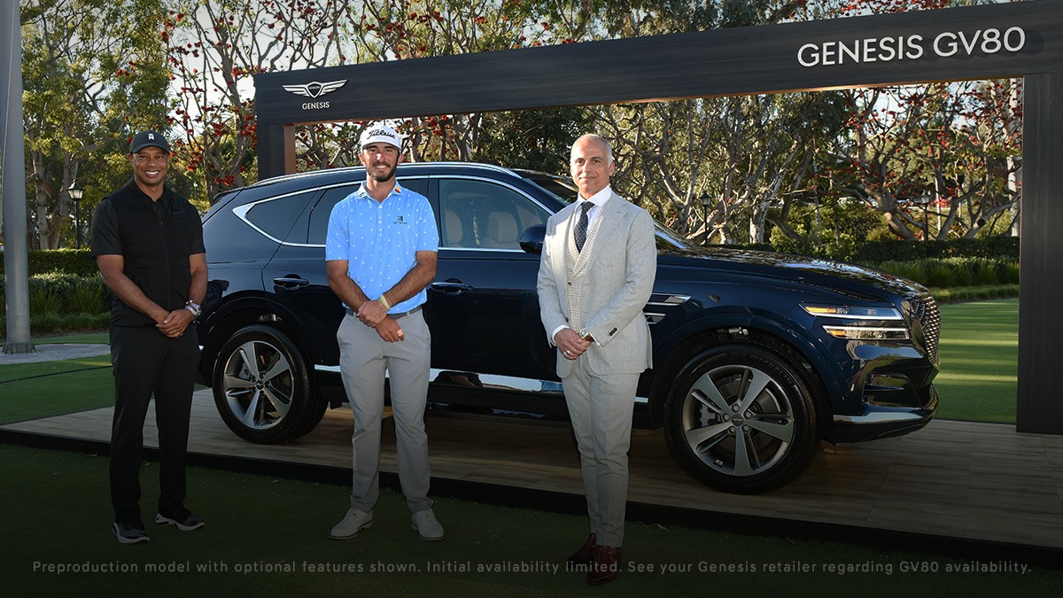 Trophy car. #GenesisGV80 ___ Champion #golfer with a champion ride. @TheGenesisInv champion #MaxHoma celebrates his astounding victory at The Riviera Country Club alongside tournament host #TigerWoods and Genesis Motor North America CEO #MarkDelRosso. https://t.co/zd2QWmYP1W