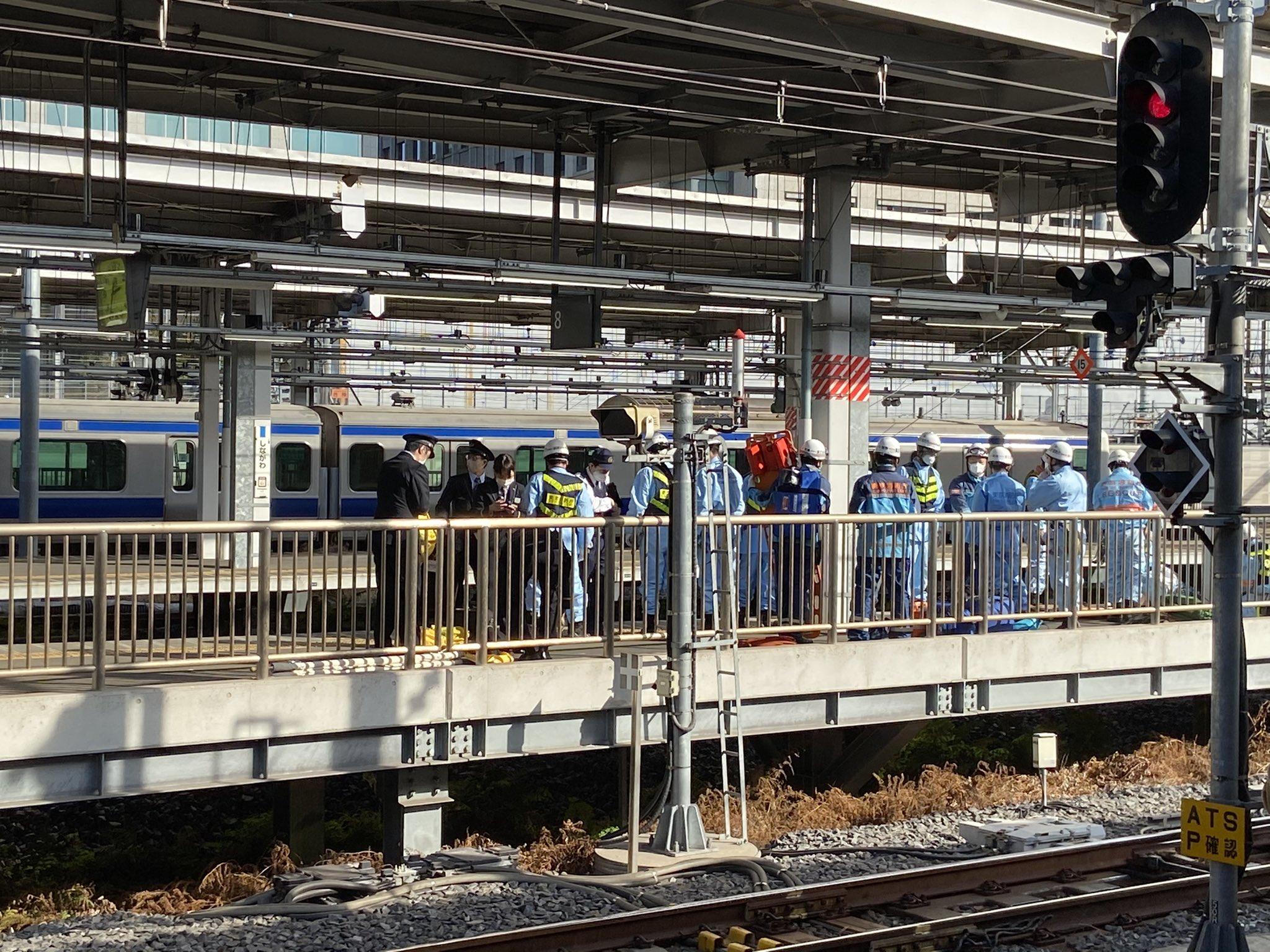品川駅の線路内立ち入りの画像
