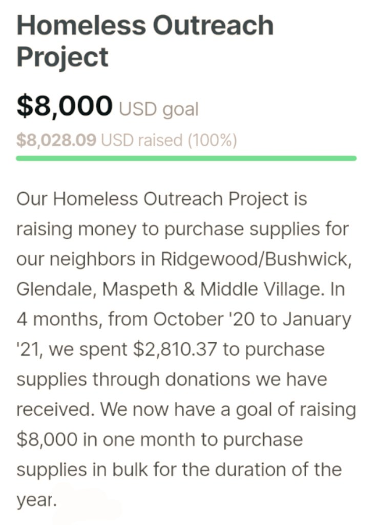 Thanks to you all, we were able to reach our goal today for our homeless outreach project! Well be using these funds to purchase a years worth of supplies for our homeless neighbors.