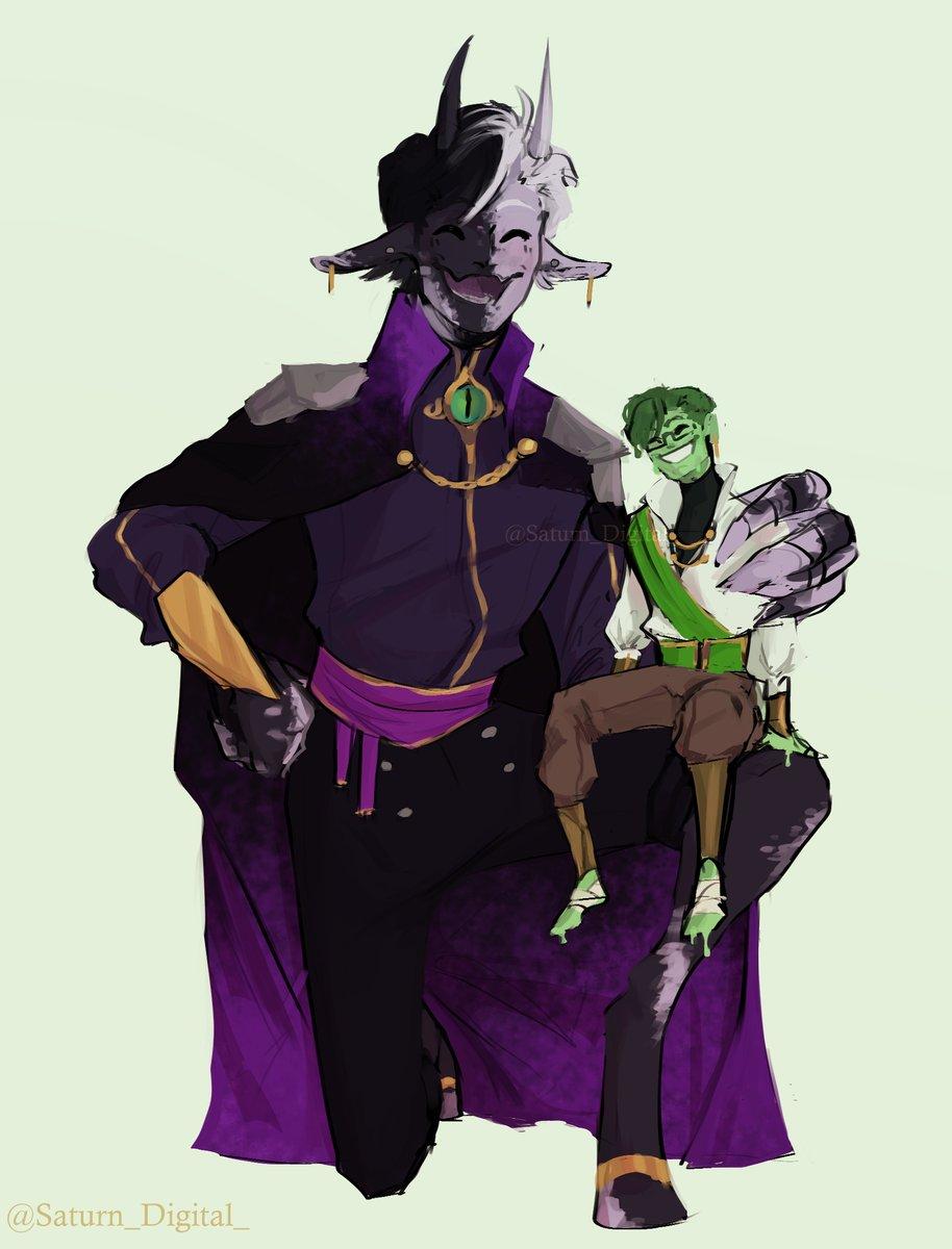 An enderman and his weird tiny slime son #ranboofanart #slimeciclefanart