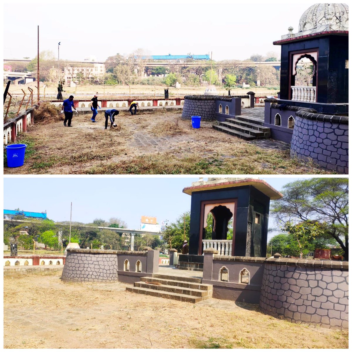 #झुंज_मोहीम2021 : Conservation Drive of Shrimant Nanasaheb Peshwa Samadhi On 20th & 21st February, team @Jhunj_Org undertook the task of cleaning the Samadhi premises. We want to thank each & every single person who joined us in this drive and made it a grand success. 1/4