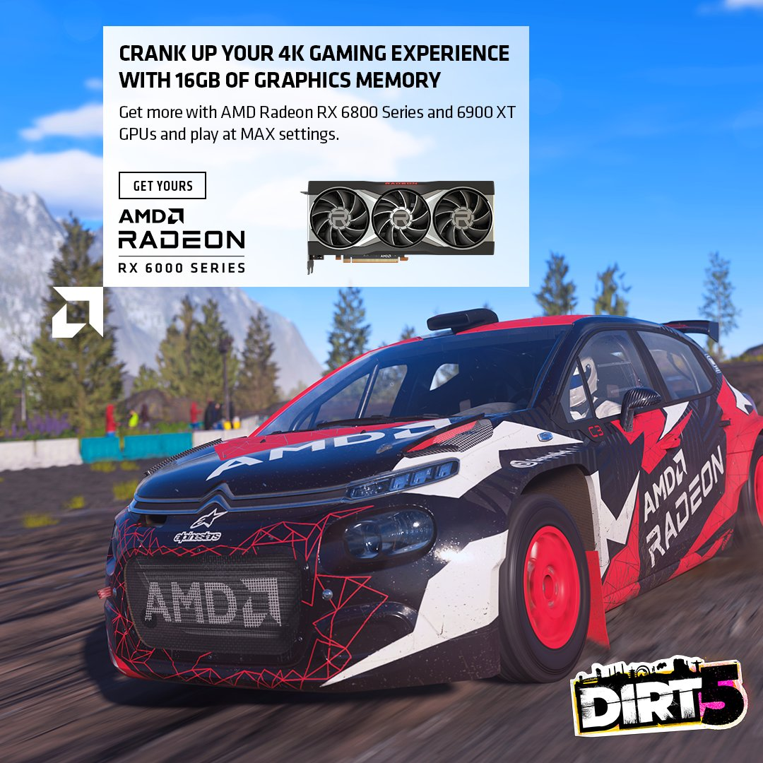 Get the boost you need where the rubber meets the road. Crank up your 4K @dirtgame experience with #DIRT5 and @AMD Radeon RX 6000 series GPUs. #GameOnAMD