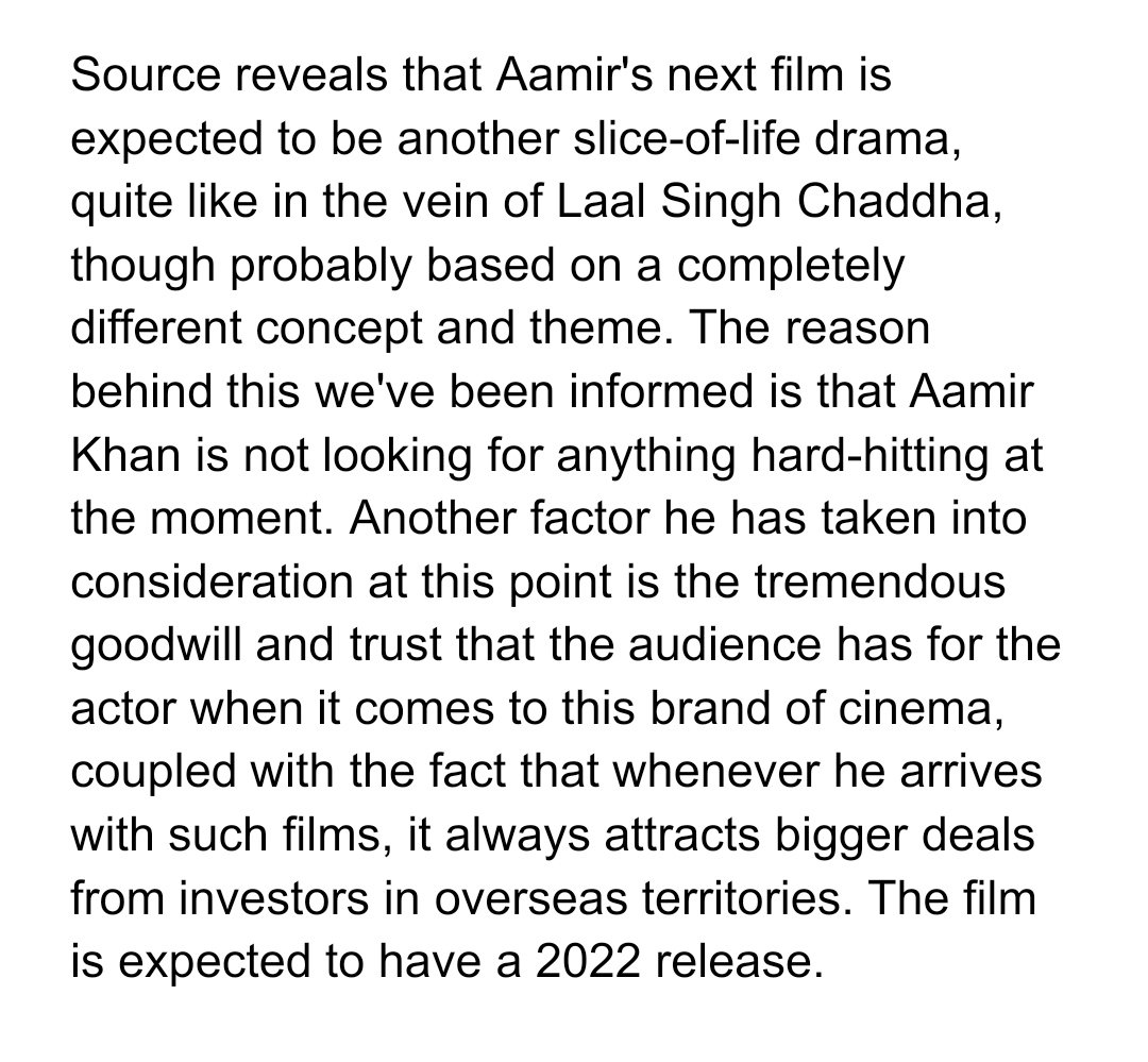 Update on Aamir Khan's Next after #LaalSinghChaddha   Another Slice-of-life drama, expected to release in 2022.  #AamirKhan @aamir_khan #LSC