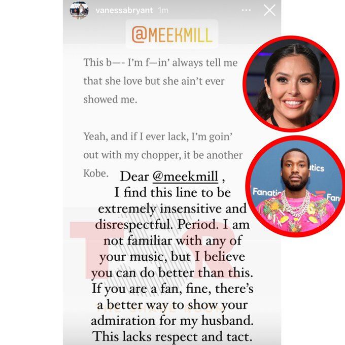 Vanessa Bryant calls out Meek Mill for insensitive, disrespectful lyric about Kobe Bryant Photo