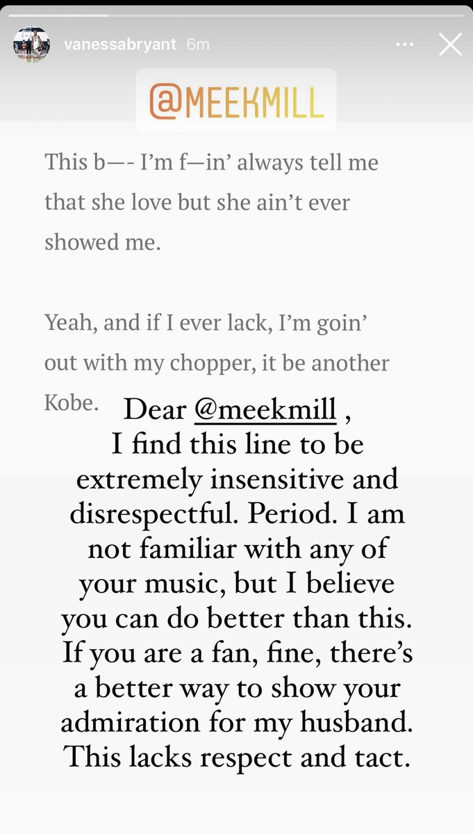 Vanessa Bryant addressed the inexcusable lyric from Meek Mill about Kobe.