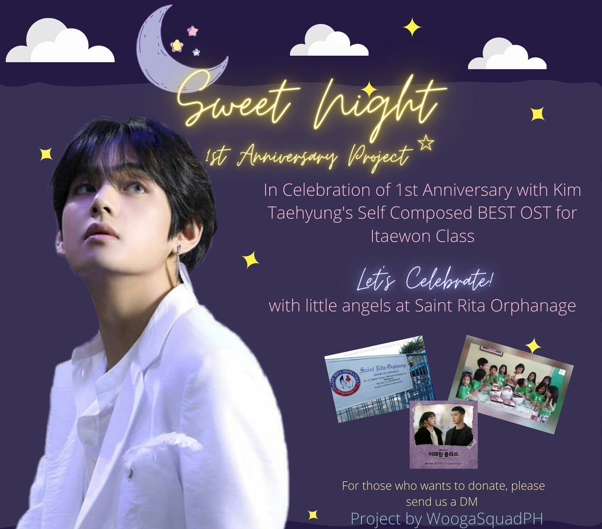 Celebration of Kim Taehyung's self composed english song SWEET NIGHT the Best OST's First Year Anniversary is coming!  To thank V for giving us this beautiful masterpiece, we will celebrate our Sweet Day with kids at Saint Rita Orphanage.😊