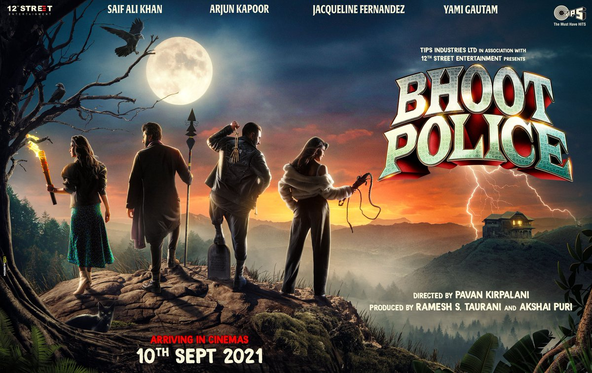 Get ready to scream with laughter! #BhootPolice arrives on 10th sept. #NewNormalIsParanormal  #SaifAliKhan @arjunk26 @yamigautam @jaavedjaaferi @RameshTaurani @PuriAkshai #PavanKirpalani #JayaTaurani @tipsofficial #12thStreetEntertainment #BhootPolice