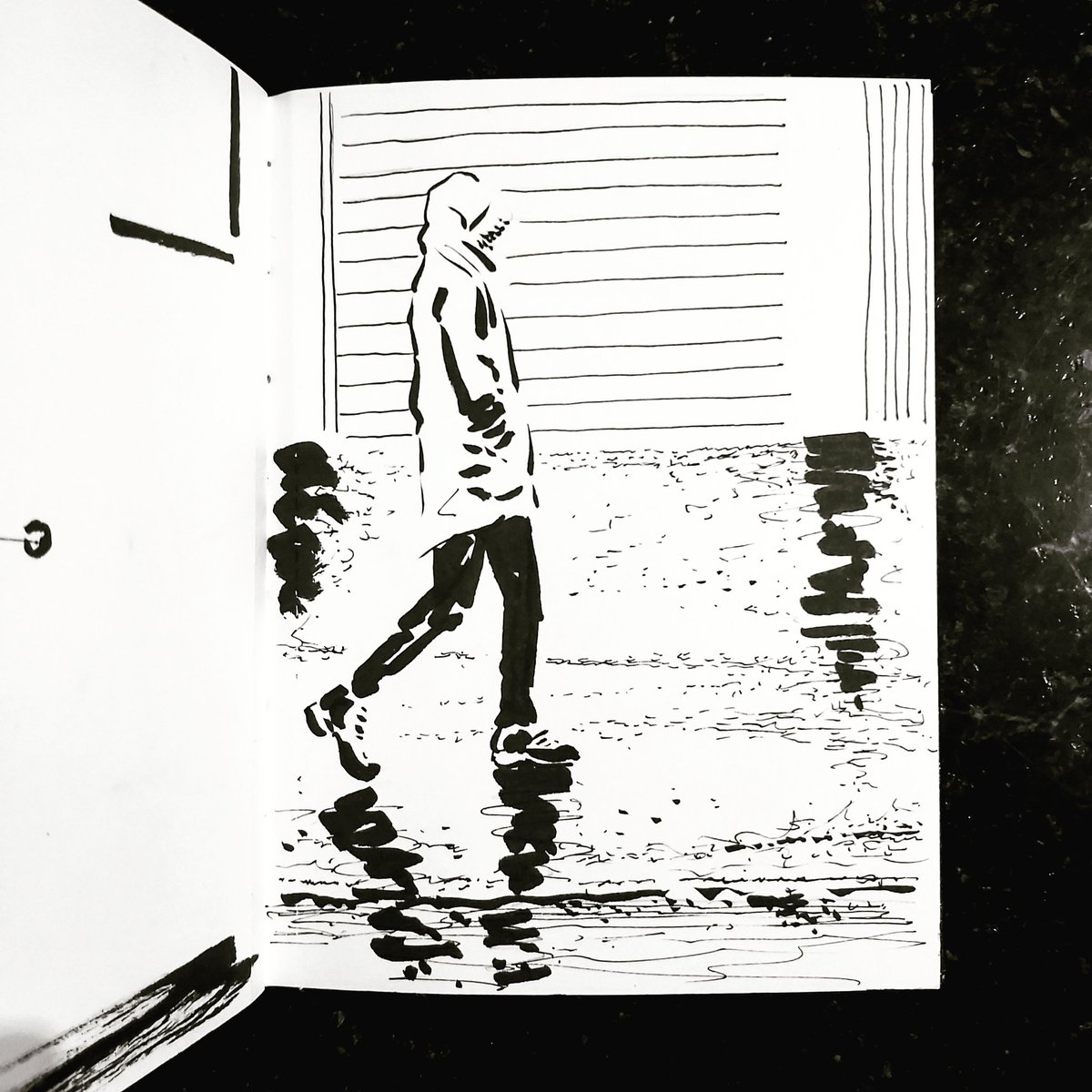 From the Inside 2 Day 111 (260 total) #isolation study Kitchen window Passerby No 150 #isolationlife #stayathome #lockdown #lockdown2uk #sketchbook #sketch #drawing #draw #doodle #ink #lineart #lifedrawing #figuredrawing #walk #artoftheday #art #artwork #artist #illustration