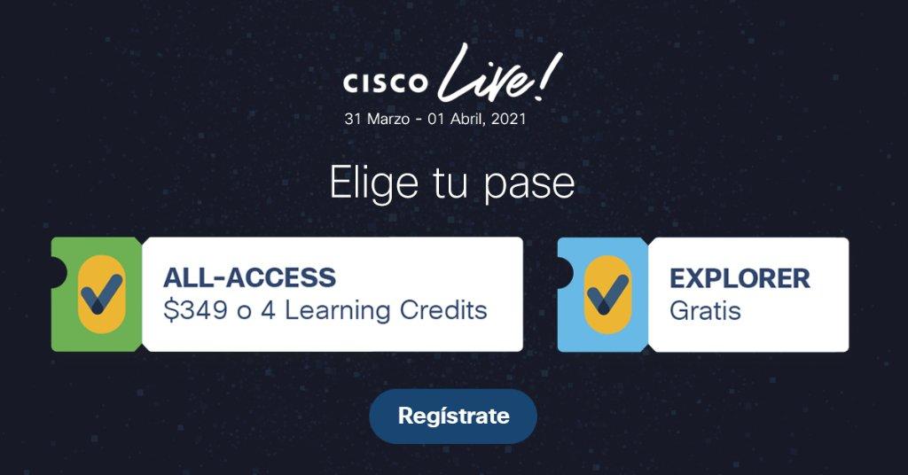 Elige tu pase de acceso al mayor evento global de IT según tus objetivos y necesidades profesionales. Regístrate hoy en #CiscoLive virtual: