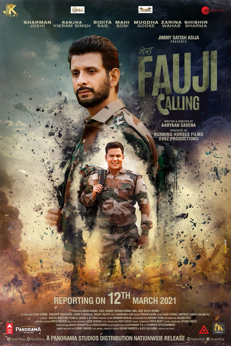 IN CINEMAS, 12 MARCH 2021... #FaujiCalling - starring #SharmanJoshi, #RanjhaVikramSingh, #BiditaBag, #MahiSoni, #MugdhaGodse and #ZarinaWahab - to release on 12 March 2021... Directed by Aaryaan Saxena... Produced by Running Horses Films and Ovez Productions.