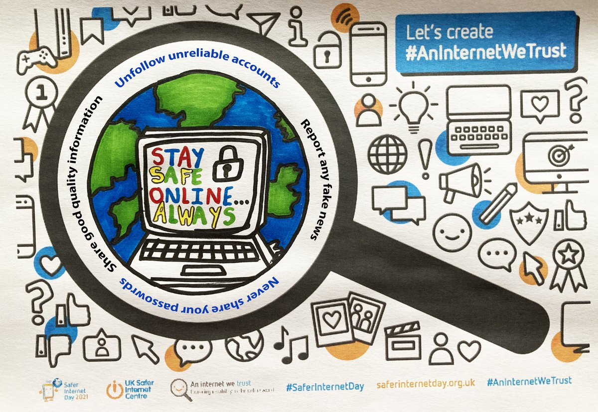 🌎🖥️🥳🏅🌟Well Done to all students who entered the Safer Internet Competition! The winner is Alfie Booton in Year 7 who has created this wonderful design encouraging us to 'Stay Safe Online Always'. Great design Alfie, well done! #aninternetwetrust @safeinternetday 🌎🖥️🥳🏅🌟
