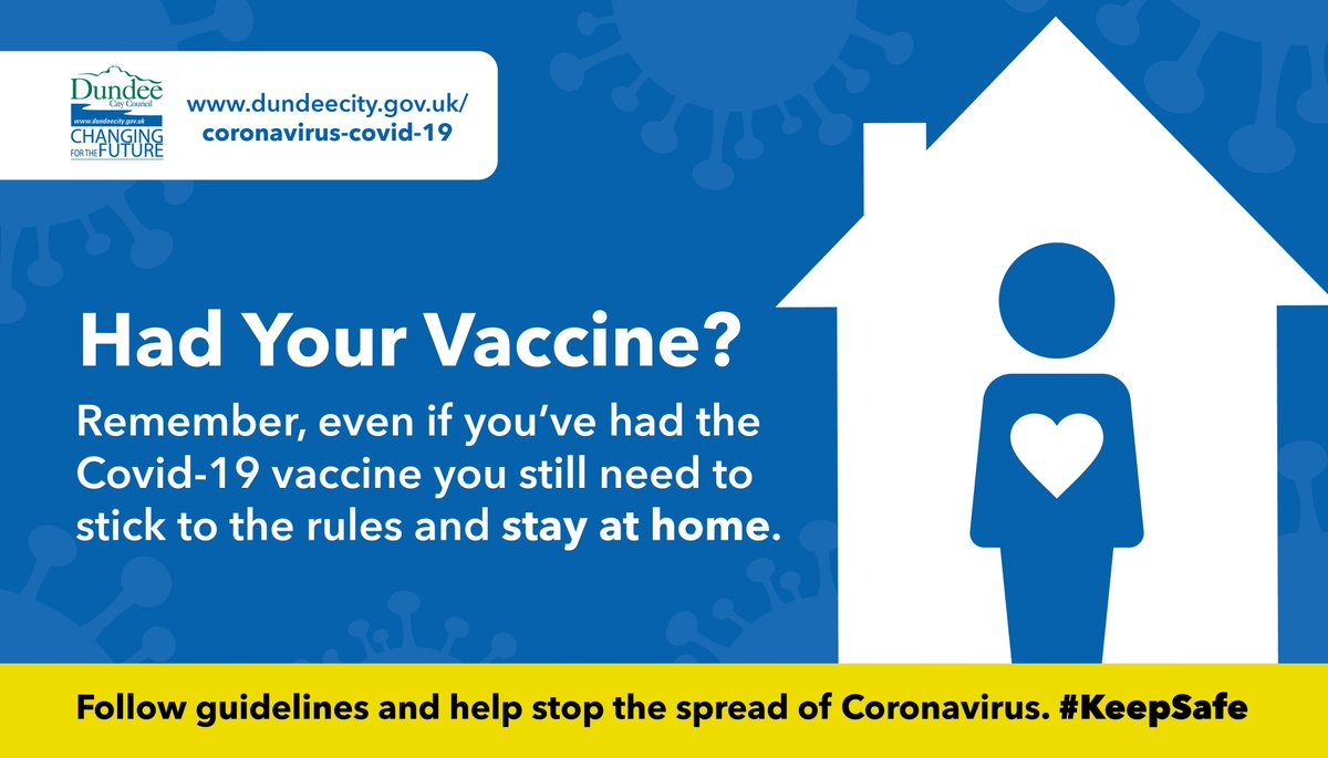 Remember, even if you've had the COVID vaccine you still need to stick to the rules and stay at home 🏡  Face coverings 👍 Avoid crowded places 👍 Clean your hands and surfaces regularly 👍 Two-metre distance 👍 Self-isolate and book a test if you have symptoms 👍  #StaySafe 💙