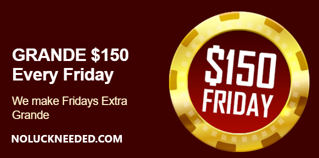 Grande Vegas Casino - Last Day to Claim $150 Friday Free Chip Coupon for MON-FRI Depositors    Reliable #Crypto #Bitcoin #Litecoin #BitcoinCash or #fiat Online Casino est 2009! #Canada, #France, #Australia Welcome