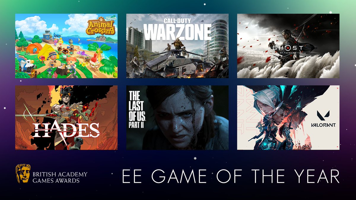VOTING IS NOW OPEN for the #BAFTAGames Awards only audience-voted award: @EE Game of the Year! Who is getting your vote? #EEGameoftheYear  🎮 Animal Crossing: New Horizons  🎮 Call of Duty: Warzone 🎮 Ghost of Tsushima 🎮 Hades 🎮 The Last of Us 2 🎮 VALORANT