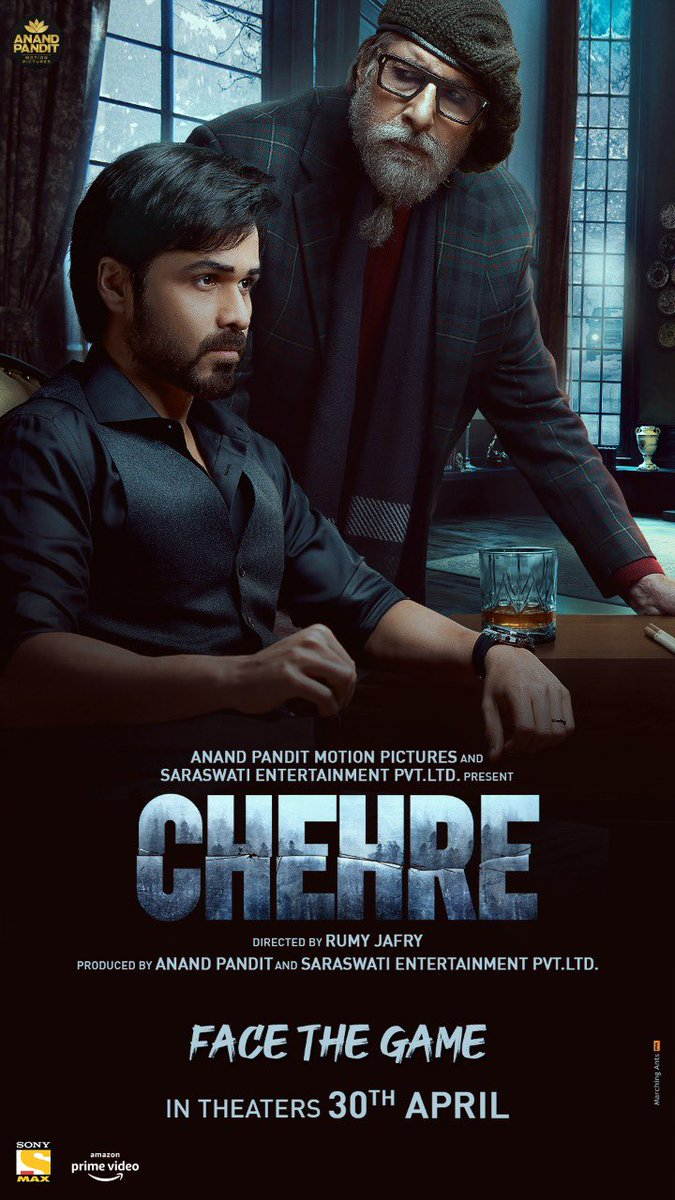 """#Chehre """"FACE THE GAME""""  Much Awaited Mystery-Thriller, In Theatres on 30th April.  #FaceTheGame@SrBachchan @emraanhashmi @anandpandit63 #RumyJafry @annukapoor_ @krystledsouza @SiddhanthKapoor All good wishes dear amit ji & Team!👍🙏"""