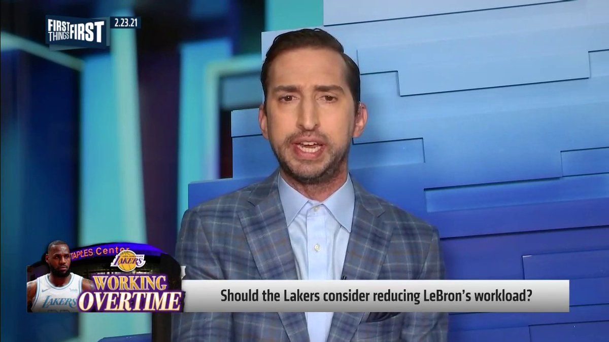 "Should the Lakers consider reducing LeBron's workload?  ""This is bigger than LeBron. He knows it. And this is why, no matter who you think the greatest basketball player ever is, this is why LeBron is the greatest ambassador for the sport.""   — @getnickwright"