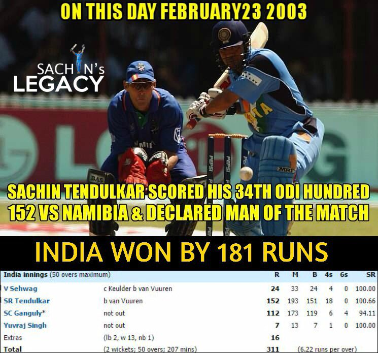 #OnThisDay in 2003 #SachinTendulkar scored 152 vs #Namibia and declaredman of the match #SouravGanguly also scored a brilliant hundred 112* in the inns #TeamIndia won by 181 runs convincingly   -A post from @sachin_rt pakistani fan page