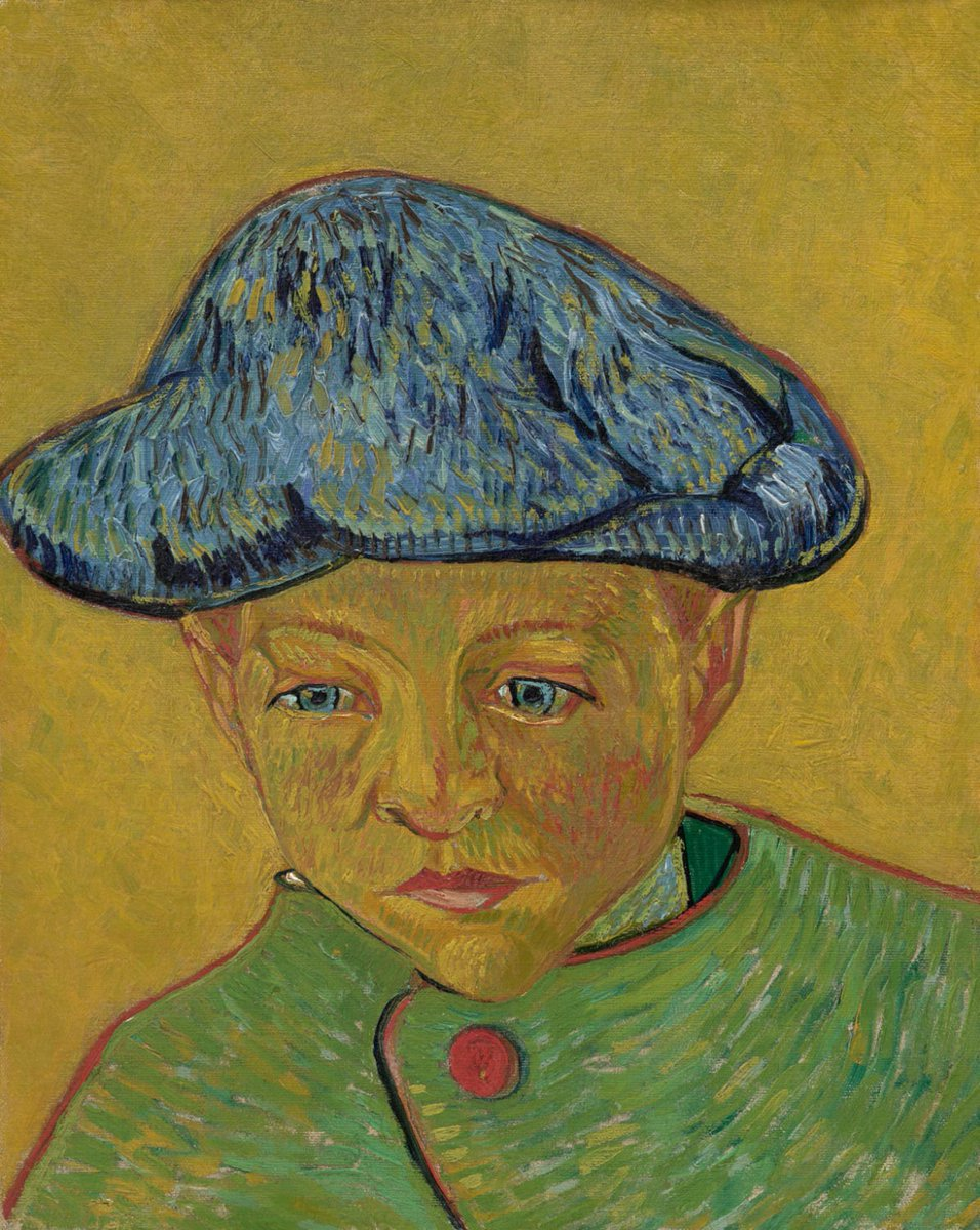 Look deep into Camille's eyes! 👁️ By looking at his eyes, can you see which of these two versions Van Gogh painted with the model present, and which he painted afterwards in his studio? Tip: which eyes sparkle more? 🌻 Portrait of Camille Roulin @philamuseum & Van Gogh Museum https://t.co/8MZqBbZeTw
