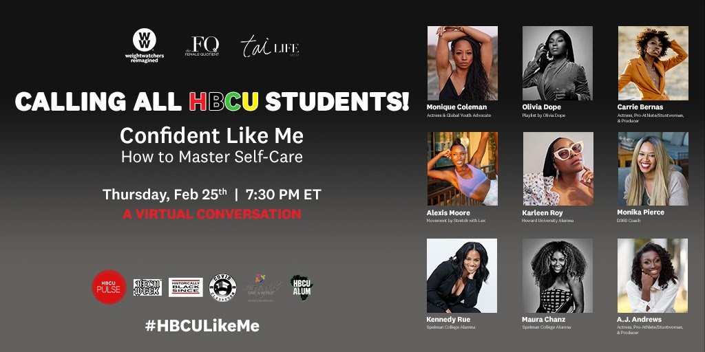 Join us 2/25 with @femalequotient & #TaiLifeMedia for a virtual event to empower students of color, with a focus on how to master self-care and learn how mind, movement, sleep, & nutrition all play into building confidence. Register: