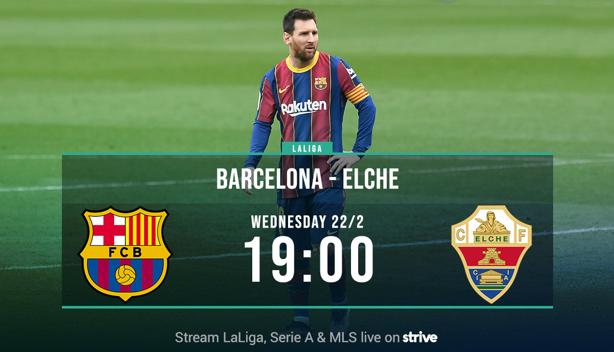 LALIGA 🇪🇸  Barcelona - Elche  Barça missed a golden opportunity to cut the gap to the top spot as they drew with Cádiz on Sunday. Tonight they need a win against Elche to keep the title dream alive.  🕖 KO: 19:00  🇳🇴 @endrelub  #LiveOnStrive https://t.co/9aL48TNfFm