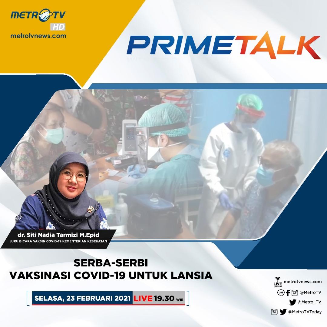 Bagaimana kelompok lansia bisa mendapatkan vaksinasi COVID-19? Selengkapnya akan dibahas dalam #PrimeTalkMetroTV hari Selasa (23/2) LIVE pukul 19.30 WIB bersama narasumber dr. Siti Nadia Tarmizi M.Epid (Juru Bicara Vaksin COVID-19 Kementerian Kesehatan).