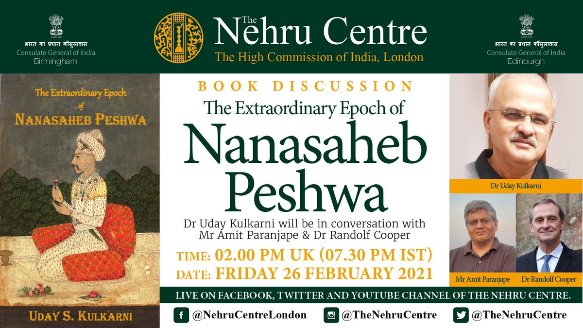 We are looking forward to this book discussion. @MulaMutha Dr Uday Kulkarni will be in conversation about his book The Extraordinary Epoch of Nanasaheb Peshwa, with Dr Randolf Cooper and @aparanjape Friday 26 February at 2.00 pm UK