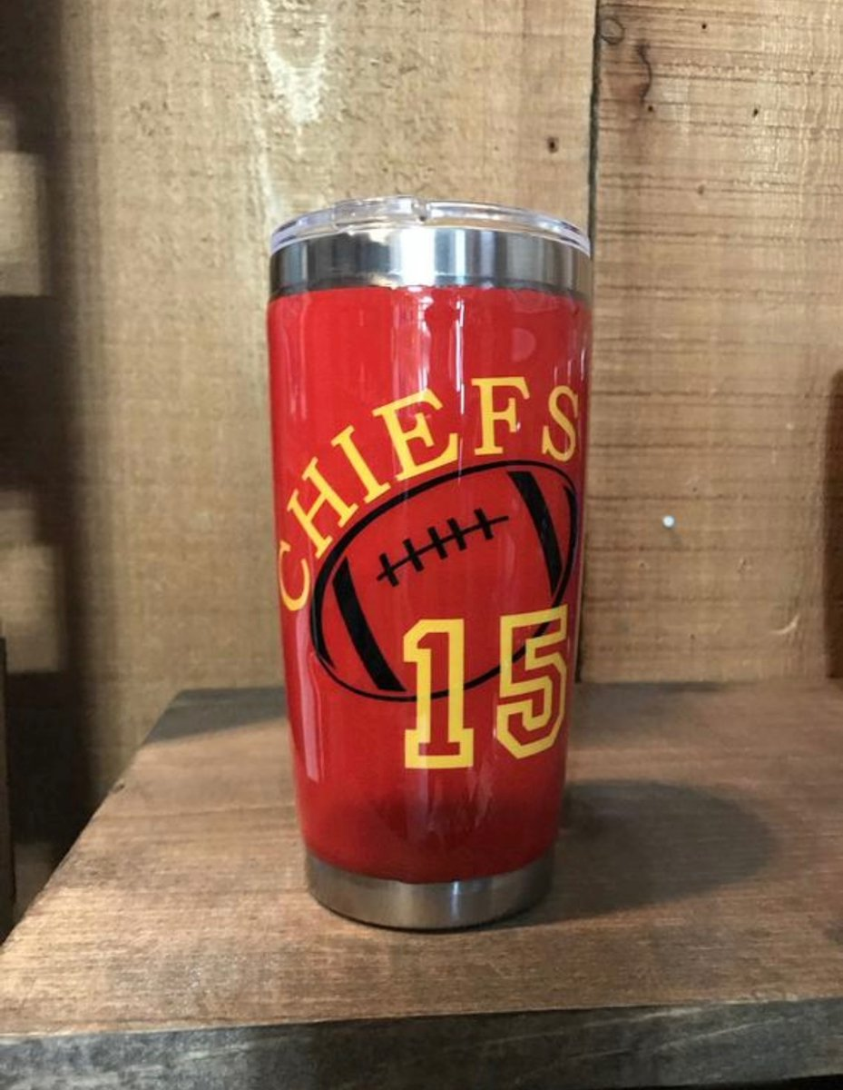 Tumbler Tuesday!  In honor of new baby Mahomes, we are featuring this cool Chiefs tumbler.   Keeps drinks cool or hot. #kcchiefs #mahomes #customtumbler #tumbler #insulatedcup