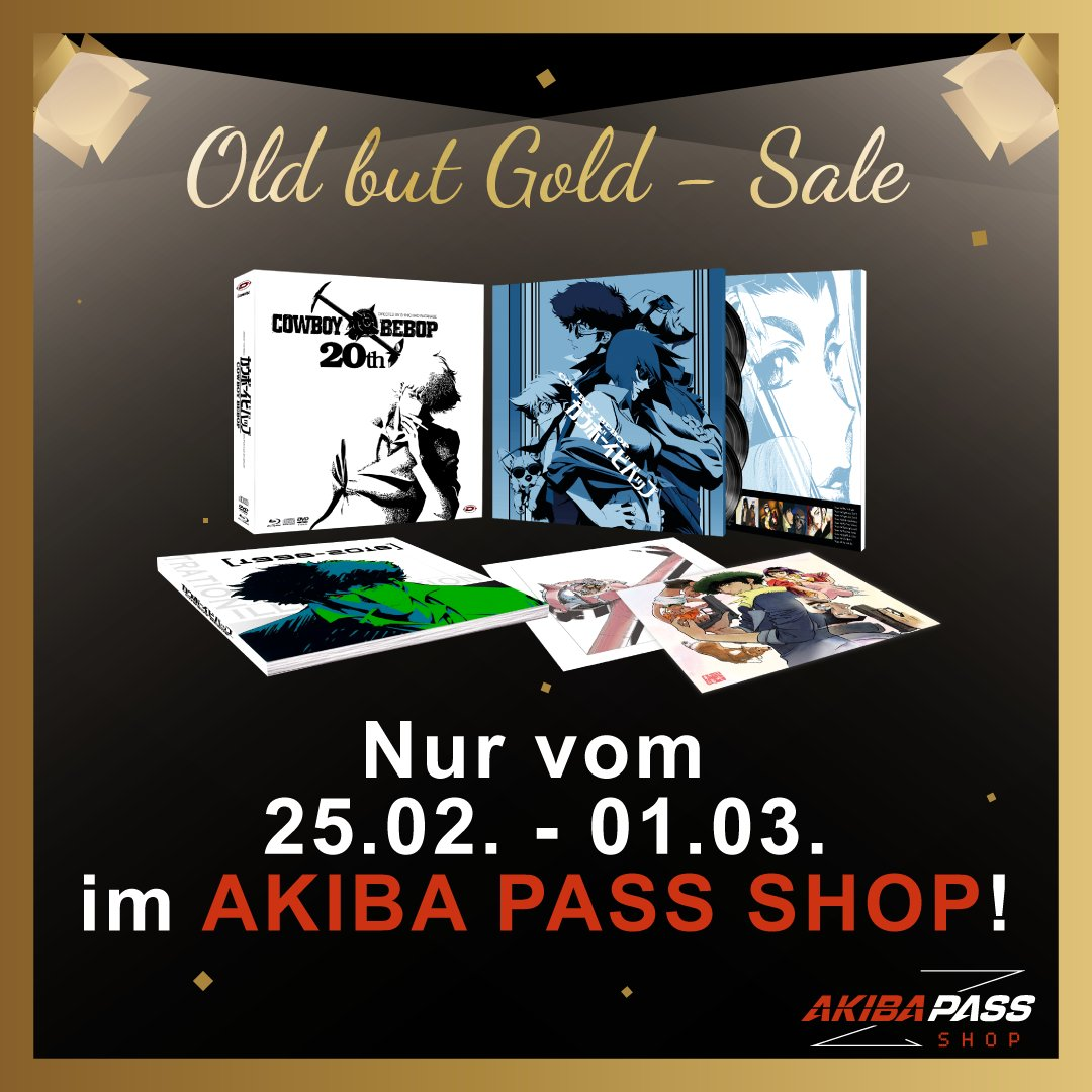 Old but Gold #Sale im #AKIBAPASSSHOP! Wir setzen Klassiker und Komplett-Sets herunter, damit ihr eure #Anime Sammlung komplettieren könnt! Mit dabei ist DER Kult-Klassiker schlechthin, bei dem sich die Blu-ray als Vinyl tarnt #vollretro #cowboybebop