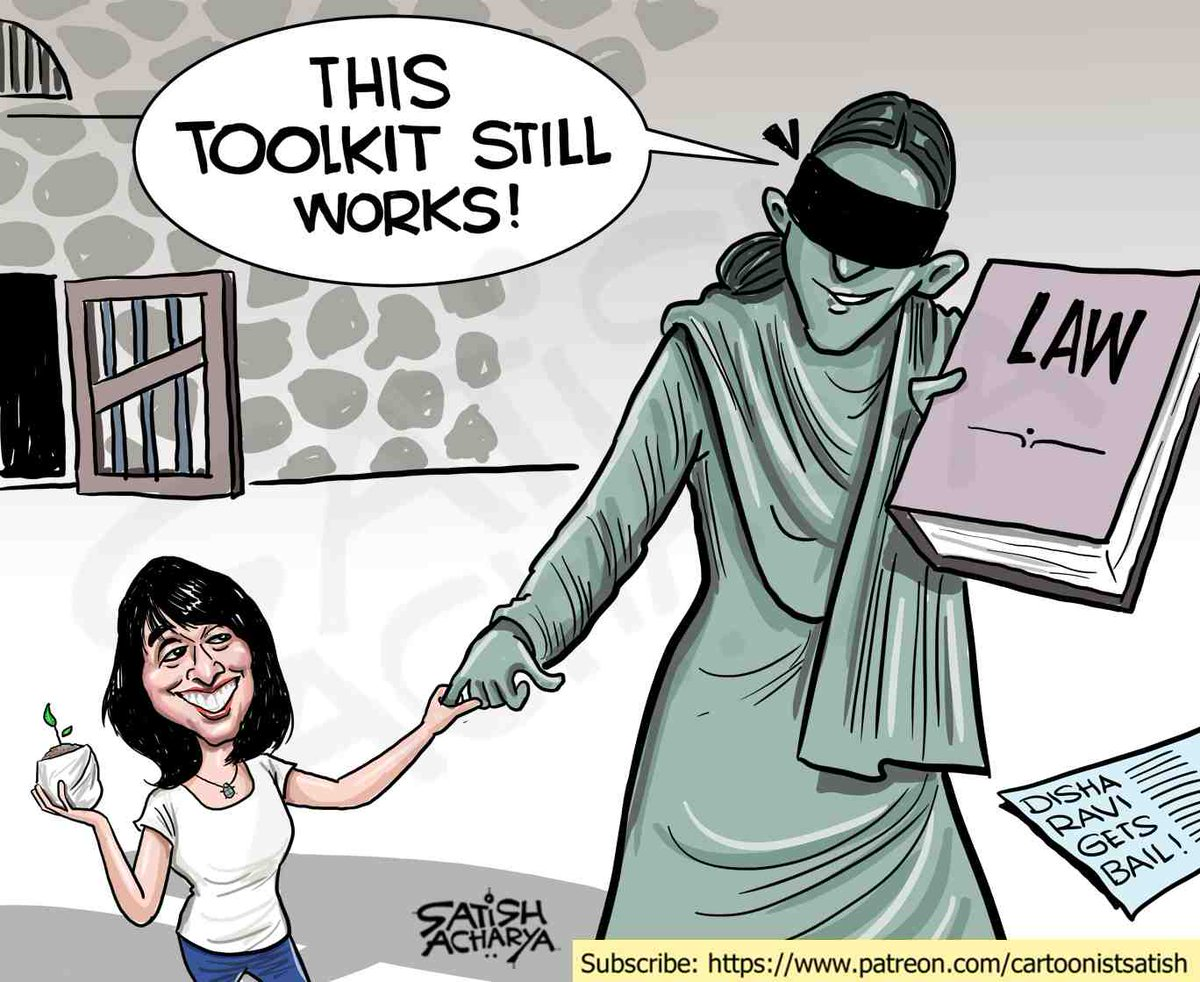 Disha Ravi gets bail! Cartoon for Patreon subscribers. To subscribe  #DishaRavibail