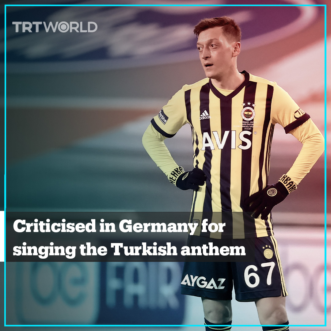 Footballer Mesut Ozil has faced criticism in Germany just because he sang the Turkish national anthem before Fenerbahce's game