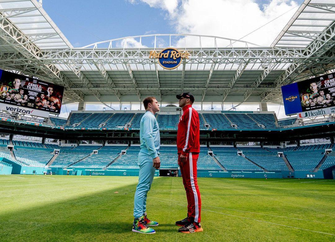 Canelo y Avni Yilidirm se vieron las caras a inicio de semana en el Hard Rock Stadium de Miami, escenario que albergará su combate dle próximo sábado.
