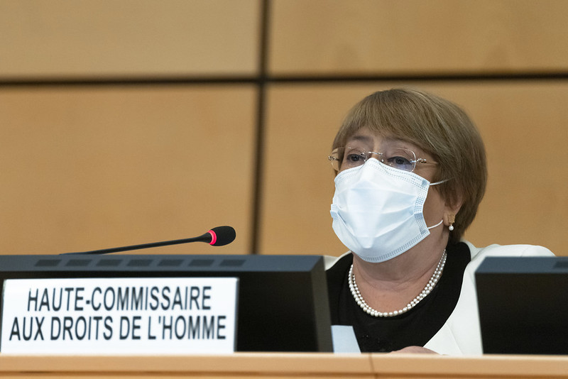 """""""There is no evidence that the #deathpenalty deters crime more effectively than any other punishment. Studies suggest some States that have abolished the death penalty have seen their murder rates unaltered or even decline,"""" says @mbachelet at #HRC46."""