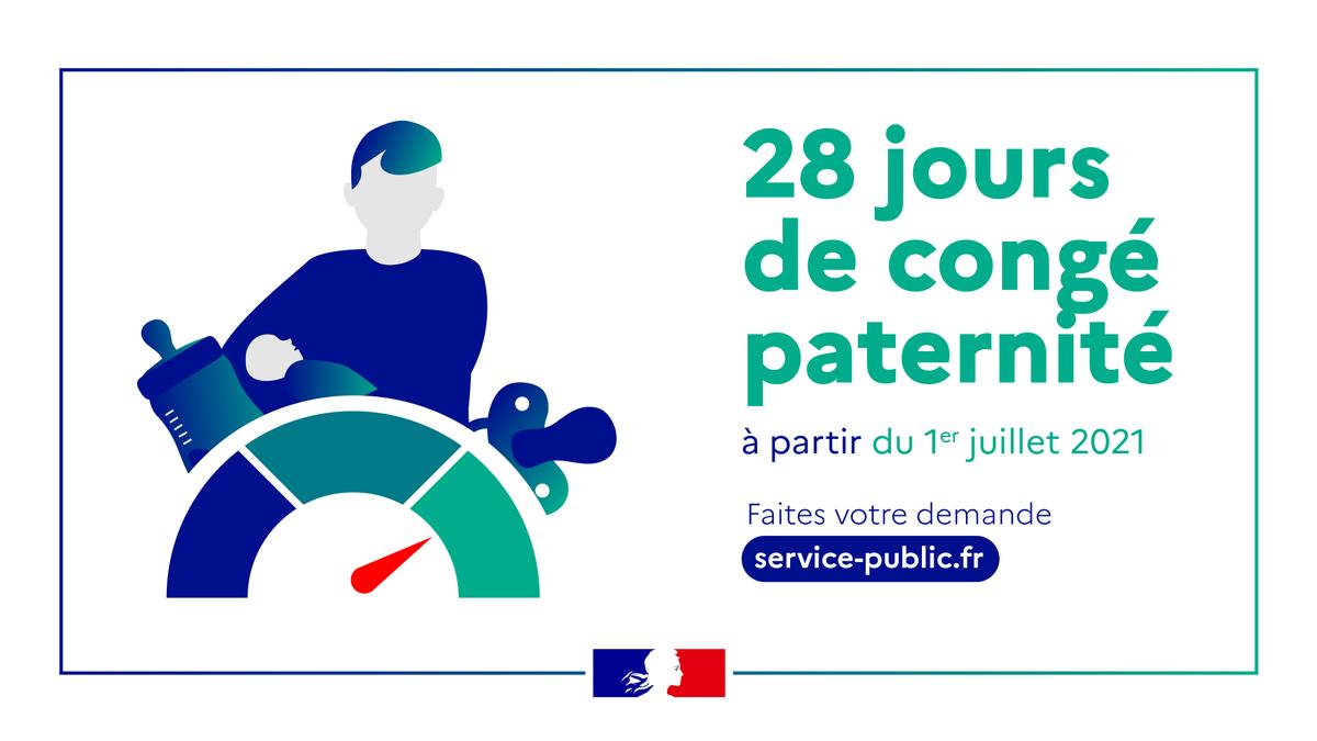 """Gouvernement on Twitter: """"#CongéPaternité   À partir du 1er juillet 2021,  la durée du congé paternité passe de 14 à 28 jours. Pour en savoir plus :  https://t.co/fYrX8IHnLj… https://t.co/YfImGJsMPJ"""""""