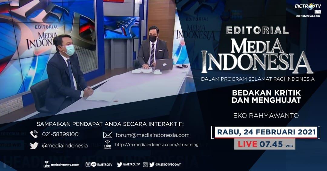 #EditorialMediaIndonesia Rabu (24/2) LIVE pkl 07.45 WIB membahas soal Kapolri Listyo Sigit Prabowo yang meminta jajarannya agar kasus-kasus pelanggaran UU ITE, khususnya yang terkait pencemaran nama baik, fitnah atau penghinaan, diselesaikan dgn mekanisme keadilan restoratif.