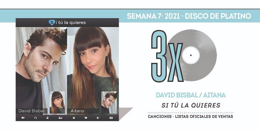CERTIFICADO Tercer #DiscoDePlatino 💿 para #SiTúLaQuieres de @davidbisbal y @aitanax en el 🔝 7️⃣2️⃣ de la lista oficial de ventas de singles en España 🇪🇸 #TopCanciones