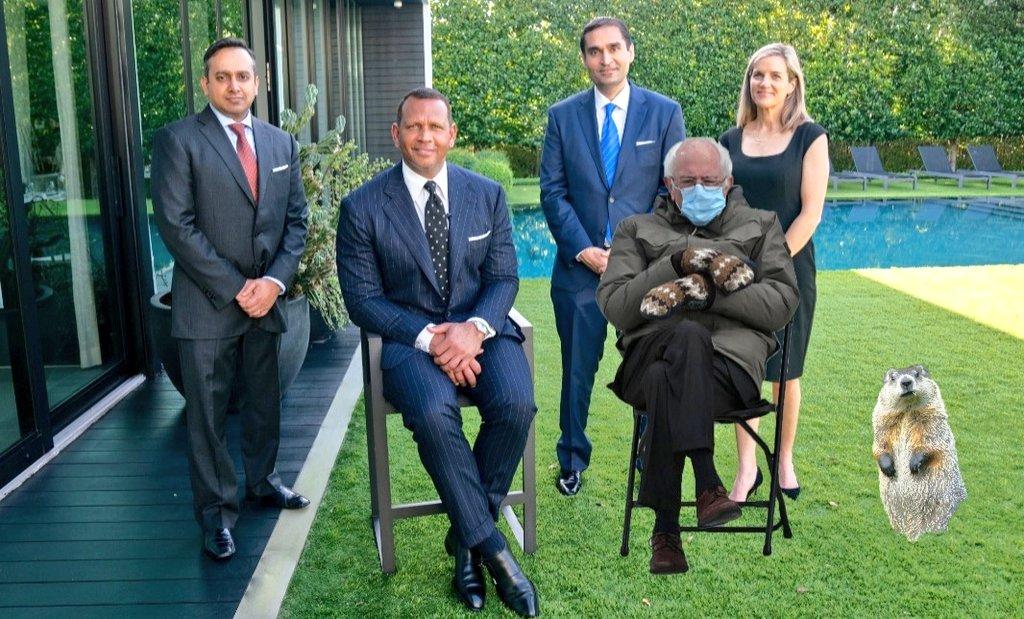 @AROD Looks like Bernie is overdressed! What...too soon?
