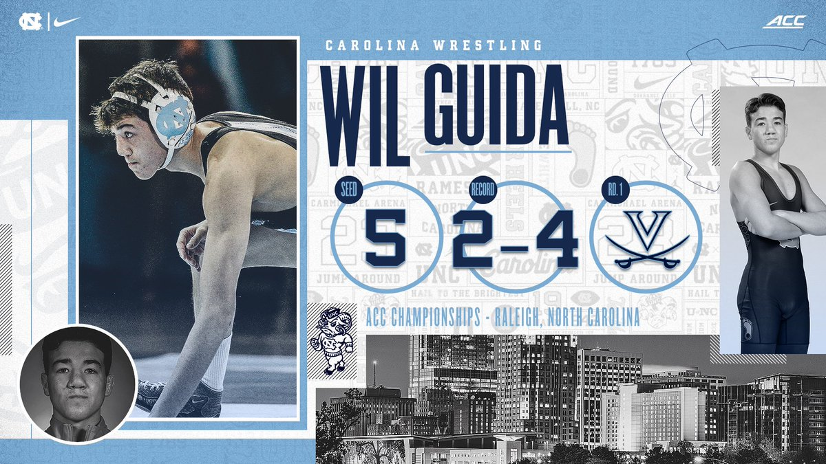 Wil Guida (125) will be competing in his first ACC Wrestling Championship on Sunday, looking to qualify for NCAAs as a true freshman.   #GoHeels | #WeWantMore