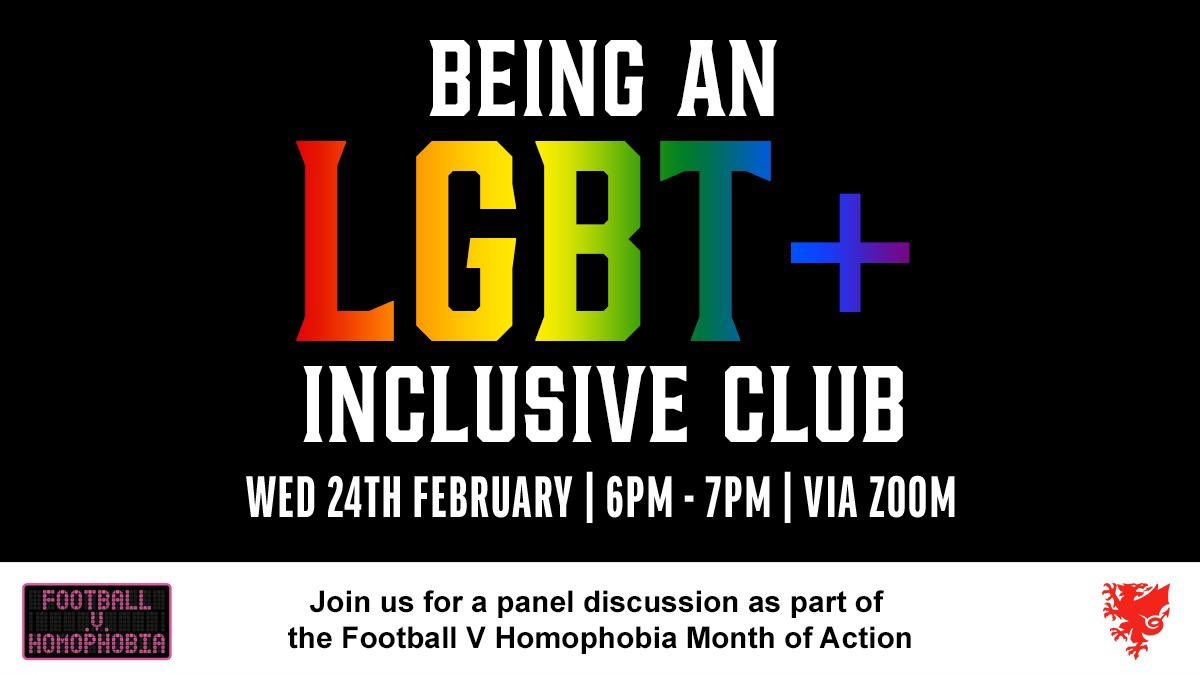 ⚽ Want to learn more on how your club can support LGBTQ+ players being open about their gender identity & sexuality?  Join the FAW tomorrow evening for a panel discussion as part of the @FvHCymru Month of Action.  💻   #TogetherStronger #FvH2021