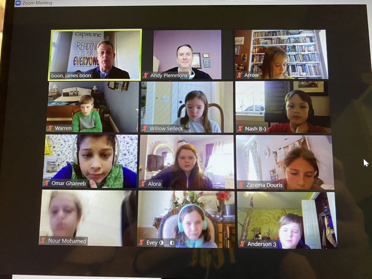 Things are a bit different this year but the student book budget team is still meeting with Jim Boon from @CapstonePub to add books to our consideration list. #studentvoice #tlchat #booklist #reading