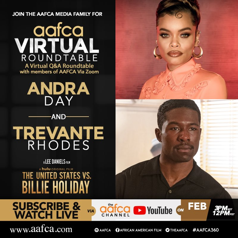 It's almost time to watch our #TheUnitedStatesVsBilleHoliday #AAFCA roundtable with stars @AndraDayMusic and #TrevanteRhodes  #USvsBillieHoliday